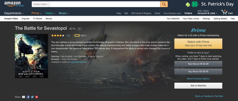 Battle for Sevastopol in Amazon TOP 100 - News - FILM UA Group